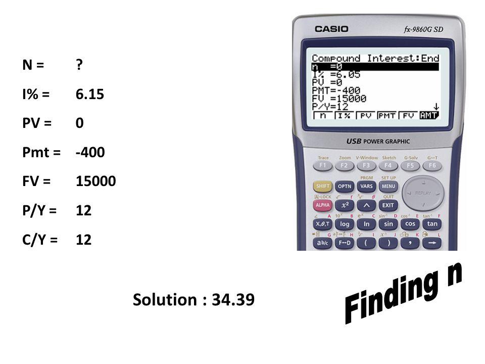 N = I% = PV = Pmt = FV = P/Y = C/Y = 6.15 0 -400 15000 12 Solution : 34.39