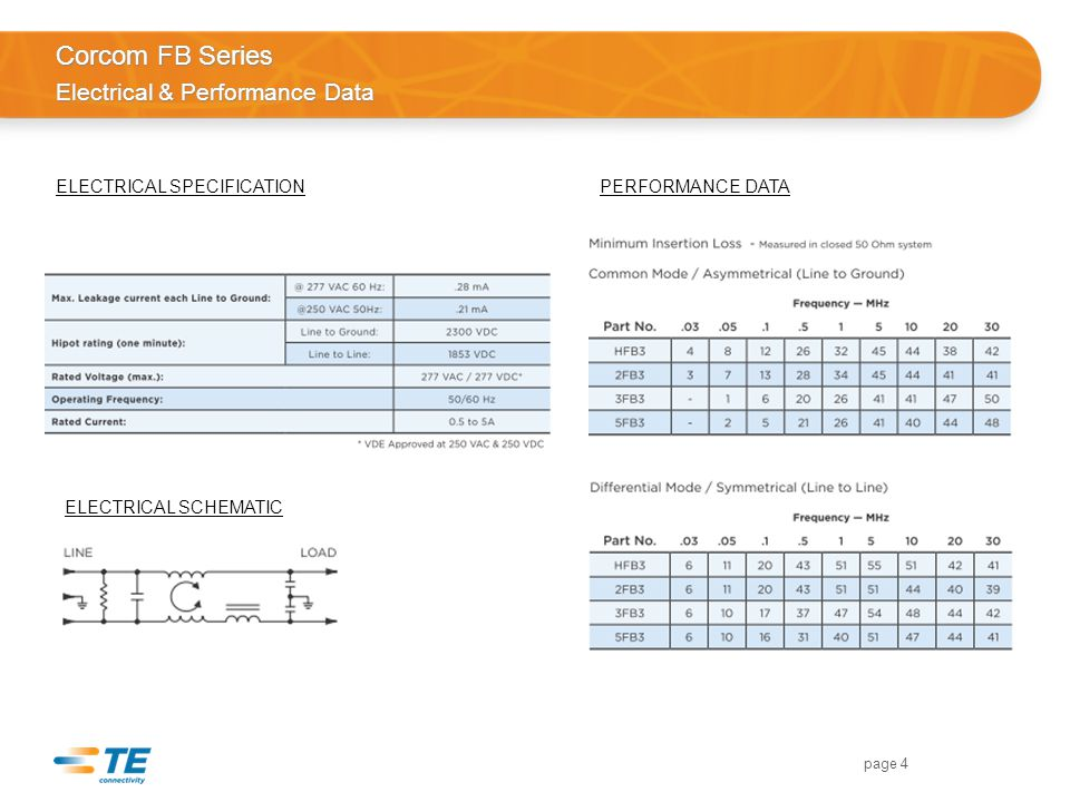 page 4 Corcom FB Series Electrical & Performance Data PERFORMANCE DATAELECTRICAL SPECIFICATION ELECTRICAL SCHEMATIC