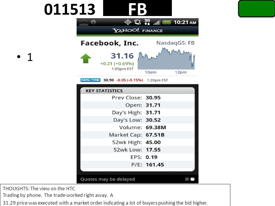 1 FB 011513 THOUGHTS: The view on the HTC Trading by phone.