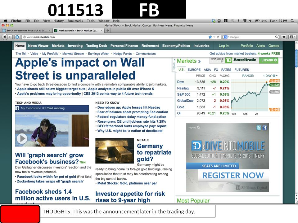 1 FB 011513 THOUGHTS: This was the announcement later in the trading day.