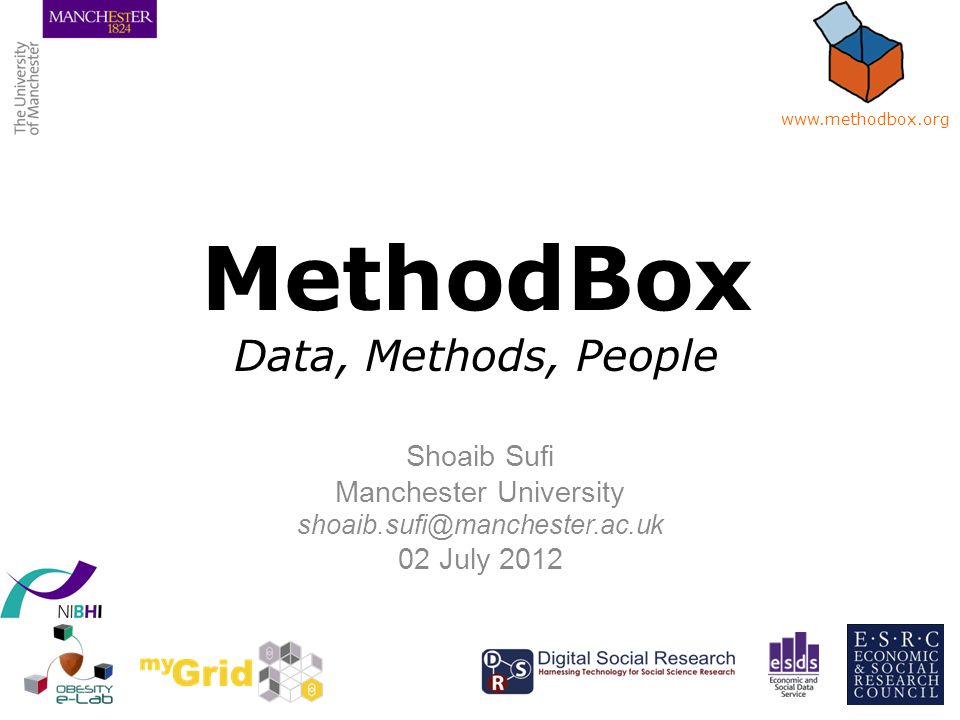 Homepage Web 2.0 Find Data Upload Methods Link Share Collaborate www.methodbox.org