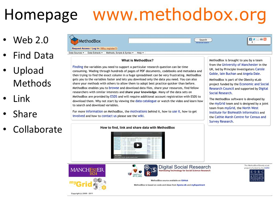 How MethodBox fits in UK Data Archive (UKDA) UK Data Archive (UKDA) MethodBox Economic and Social Data Service (ESDS) Economic and Social Data Service (ESDS) Survey Curation Survey Mapping diagram not to scale Survey Navigation Survey Commissioning & Collection etc… Improving Access & Use social Save in system Variable results ✓ ✓ ✓