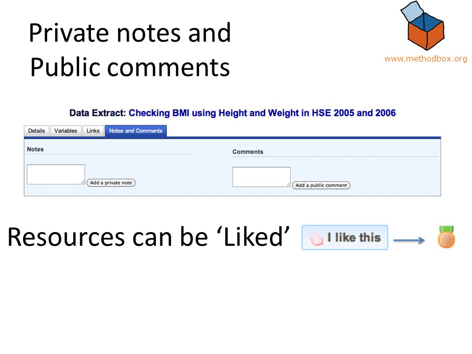 Private notes and Public comments Resources can be 'Liked' www.methodbox.org