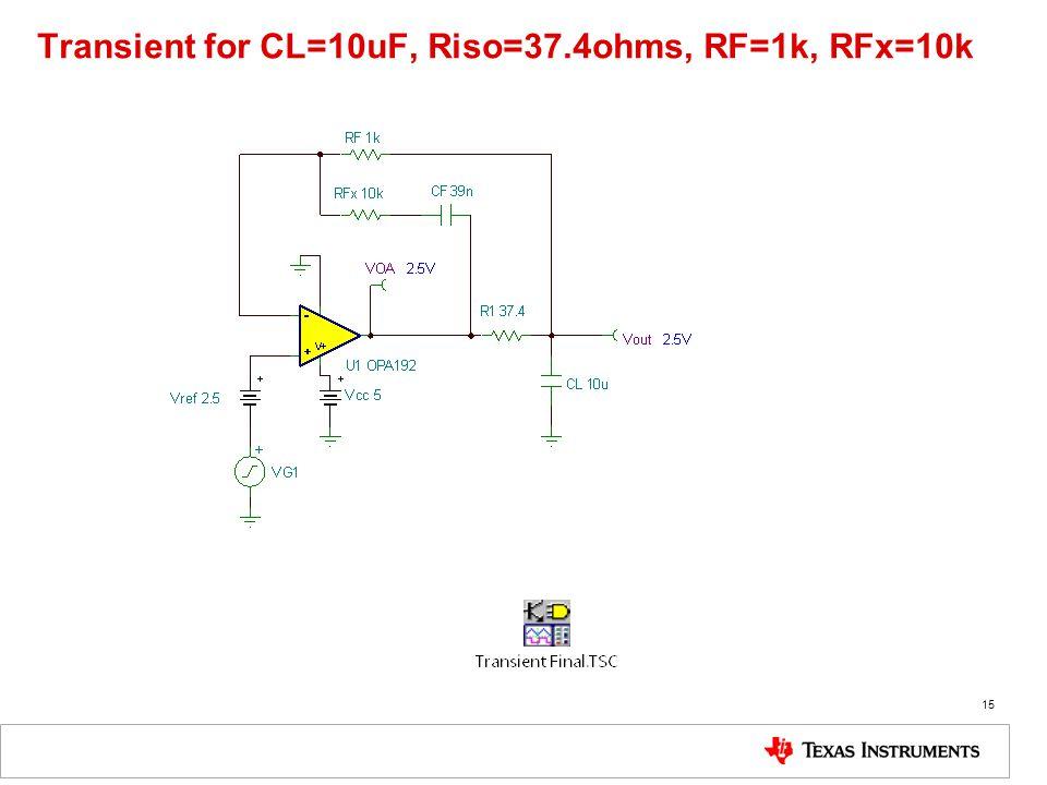 Transient for CL=10uF, Riso=37.4ohms, RF=1k, RFx=10k 15