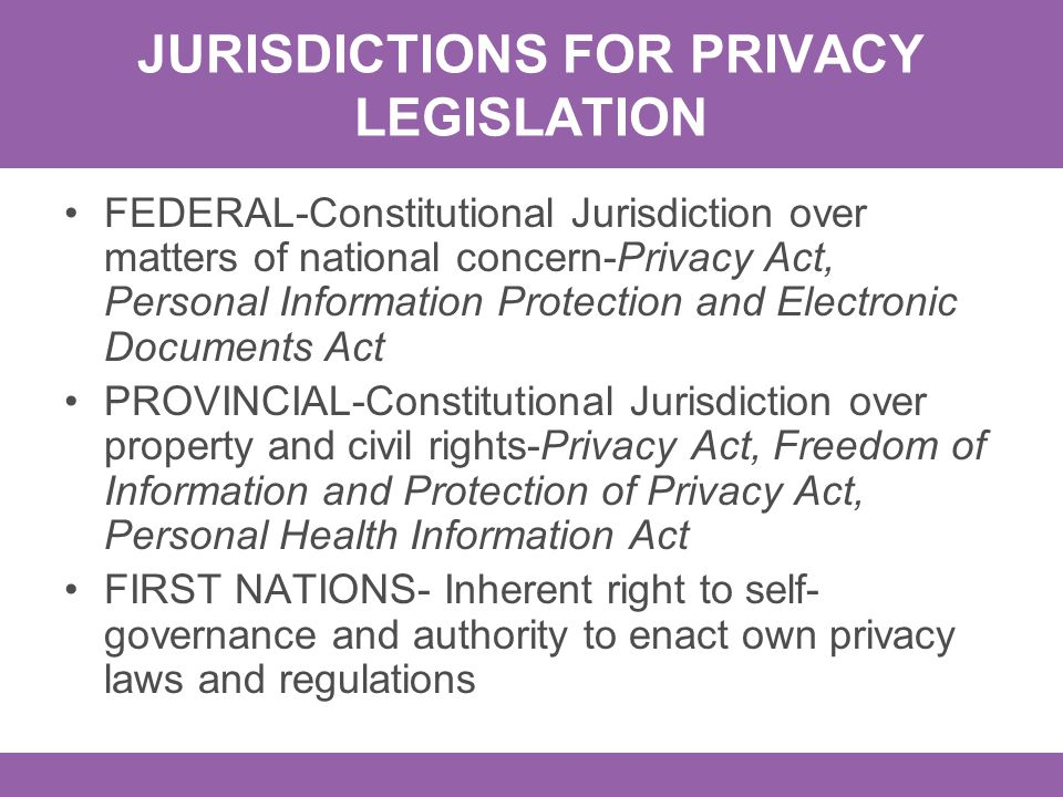 JURISDICTIONS FOR PRIVACY LEGISLATION FEDERAL-Constitutional Jurisdiction over matters of national concern-Privacy Act, Personal Information Protectio