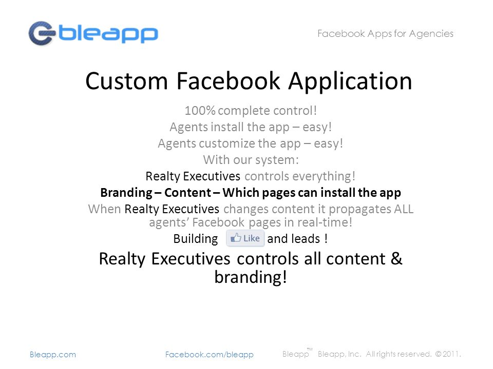 Custom Facebook Application 100% complete control.
