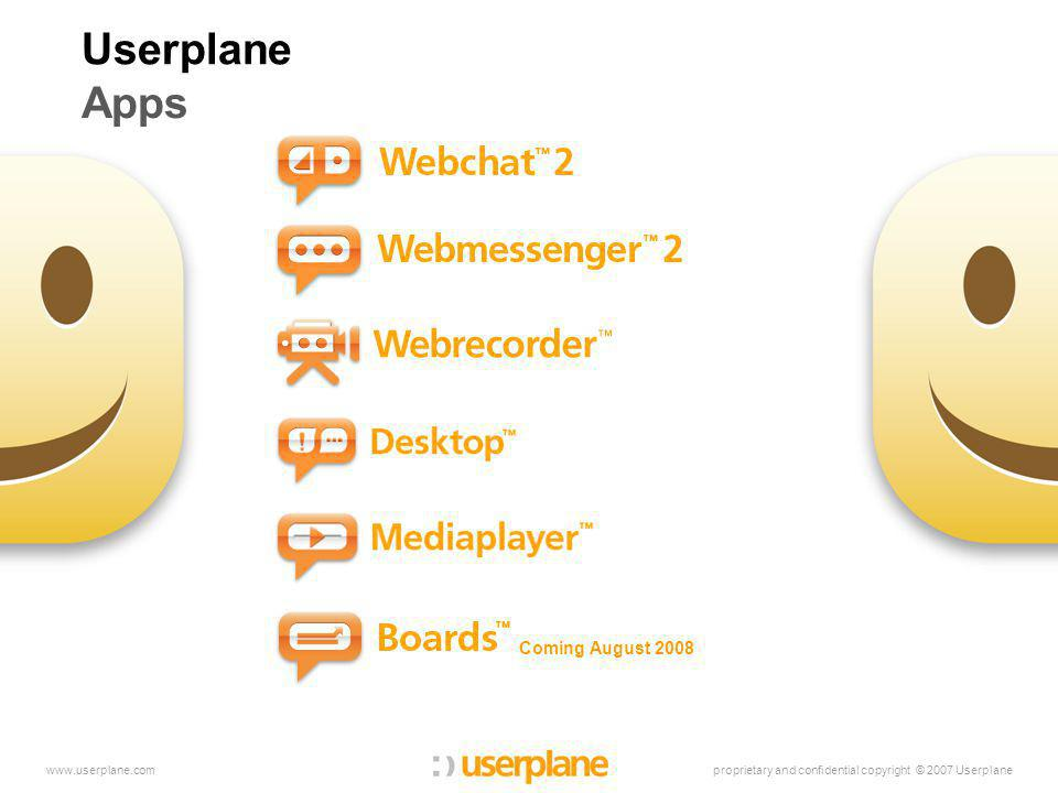 proprietary and confidential copyright © 2007 Userplanewww.userplane.com Userplane Apps Coming August 2008