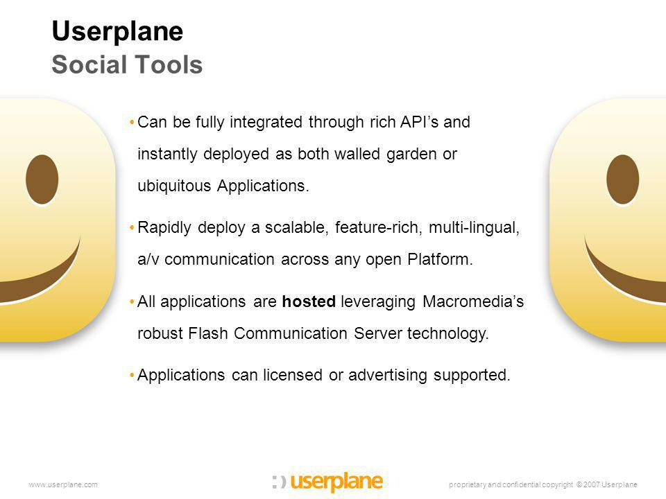 proprietary and confidential copyright © 2007 Userplanewww.userplane.com Userplane Social Tools Can be fully integrated through rich API's and instantly deployed as both walled garden or ubiquitous Applications.
