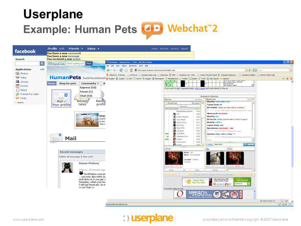proprietary and confidential copyright © 2007 Userplanewww.userplane.com Userplane Example: Human Pets Webchat 2