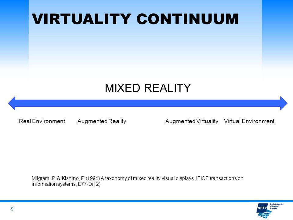 9 MIXED REALITY Real EnvironmentAugmented RealityAugmented VirtualityVirtual Environment Milgram, P.
