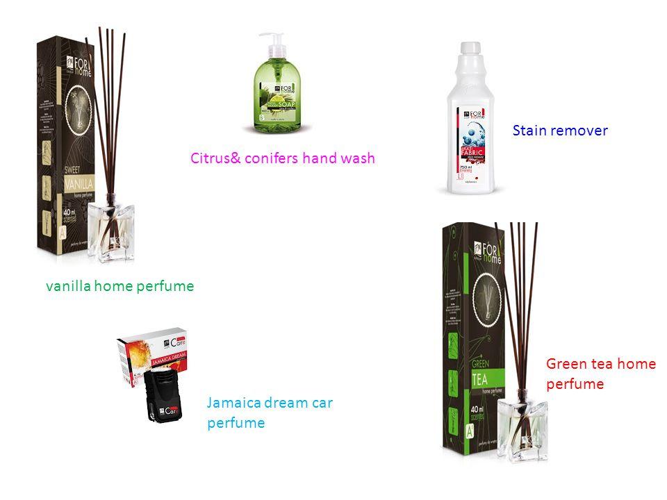Green tea home perfume vanilla home perfume Jamaica dream car perfume Citrus& conifers hand wash Stain remover