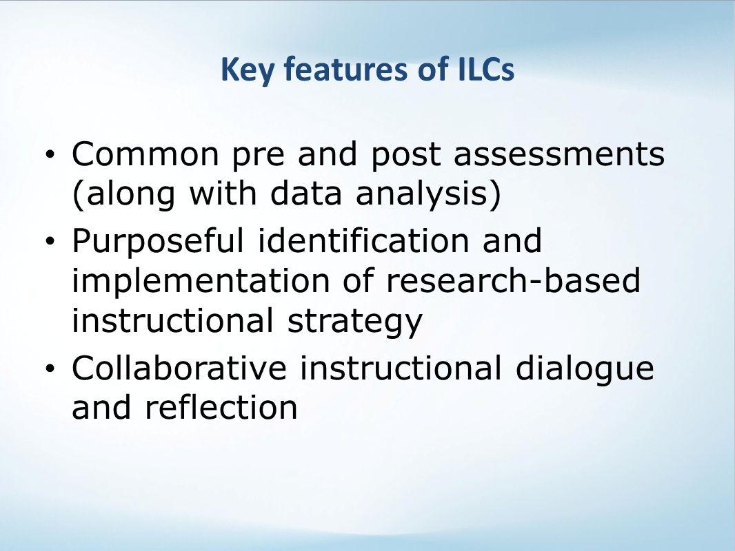 Common pre and post assessments (along with data analysis) Purposeful identification and implementation of research-based instructional strategy Colla