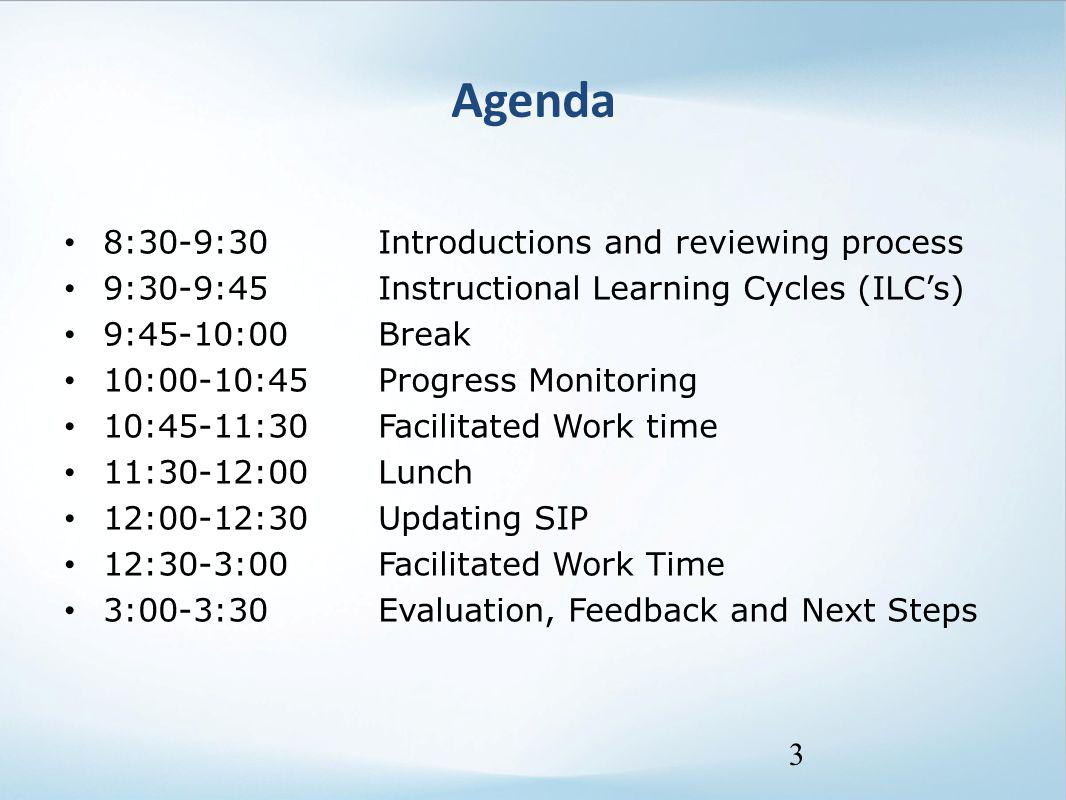 Agenda 8:30-9:30 Introductions and reviewing process 9:30-9:45 Instructional Learning Cycles (ILC's) 9:45-10:00 Break 10:00-10:45 Progress Monitoring