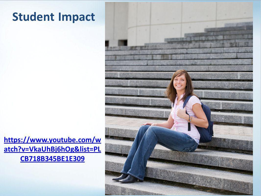 Student Impact 37 https://www.youtube.com/w atch v=VkaUhBj6hOg&list=PL CB718B345BE1E309