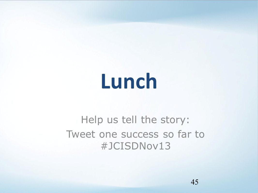 Lunch 45 Help us tell the story: Tweet one success so far to #JCISDNov13