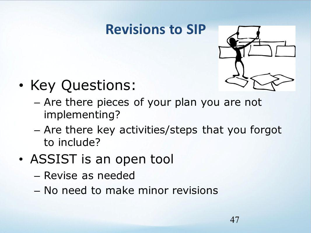 Revisions to SIP Key Questions: – Are there pieces of your plan you are not implementing? – Are there key activities/steps that you forgot to include?