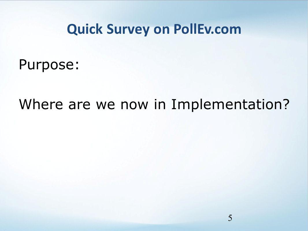 Quick Survey on PollEv.com Purpose: Where are we now in Implementation? 5