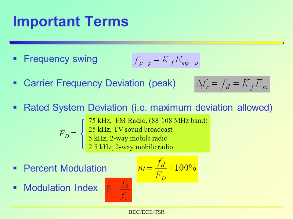 BEC/ECE/TSR Important Terms  Carrier Frequency Deviation (peak)  Frequency swing  Rated System Deviation (i.e.