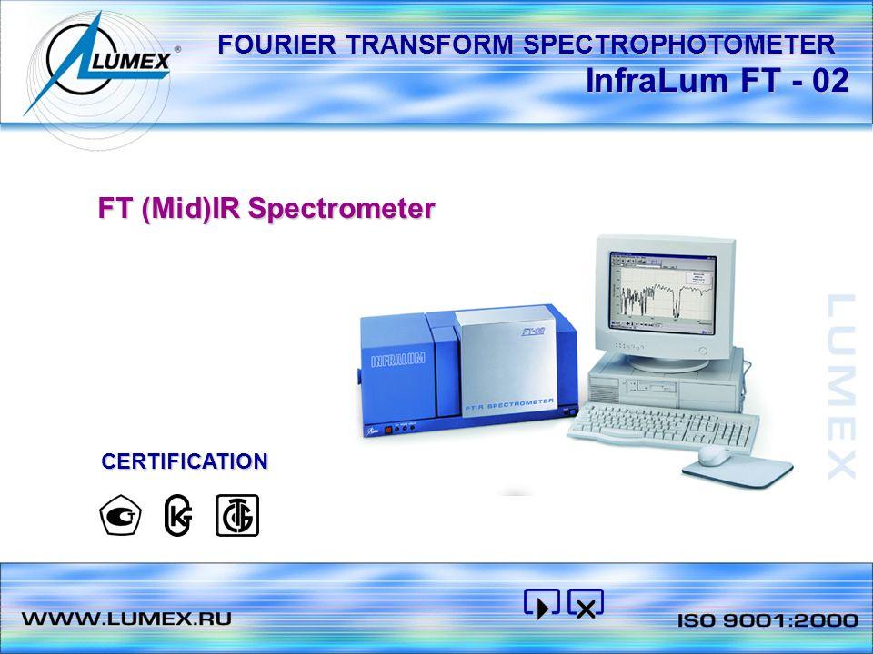 InfraLum FT - 02 FT (Mid)IR Spectrometer CERTIFICATION FOURIER TRANSFORM SPECTROPHOTOMETER
