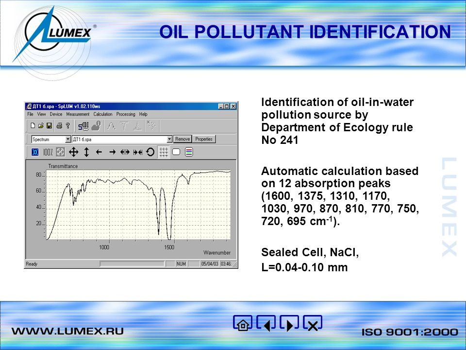 OIL CONTENT IN WATER AND IN SOIL DIN 38409 H18 and Certificate of validation M 01-39-2000 Measured content range: from 0.025 to 50 mg/l Automatic calculation based on absorption peaks 2925.