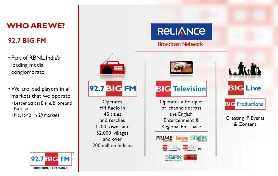 Operates FM Radio in 45 cities and reaches 1200 towns and 52,000 villages and over 200 million Indians Operates a bouquet of channels across the English Entertainment & Regional Ent space Creating IP Events & Content WHO ARE WE.