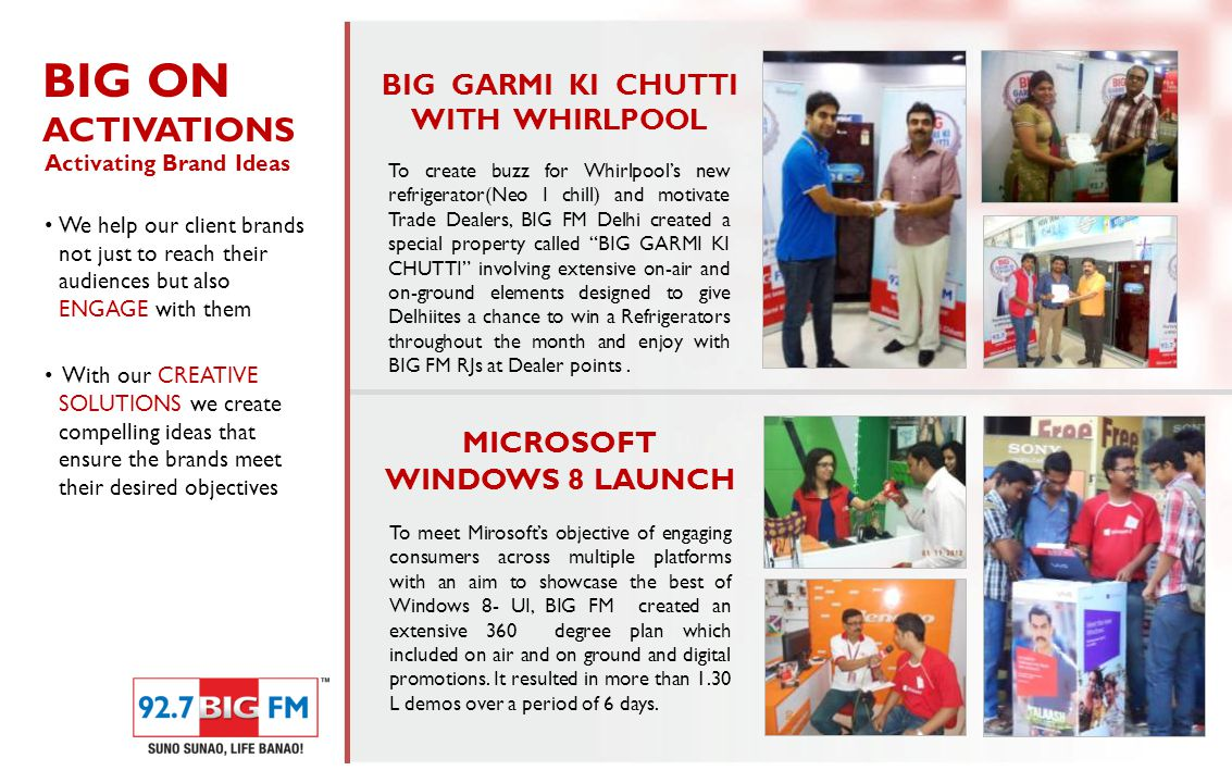 To create buzz for Whirlpool's new refrigerator(Neo I chill) and motivate Trade Dealers, BIG FM Delhi created a special property called BIG GARMI KI CHUTTI involving extensive on-air and on-ground elements designed to give Delhiites a chance to win a Refrigerators throughout the month and enjoy with BIG FM RJs at Dealer points.