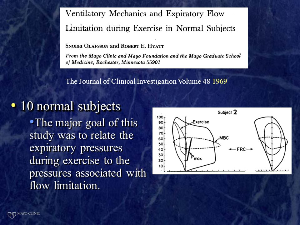 10 normal subjects 10 normal subjects The major goal of this study was to relate the expiratory pressures during exercise to the pressures associated with flow limitation.