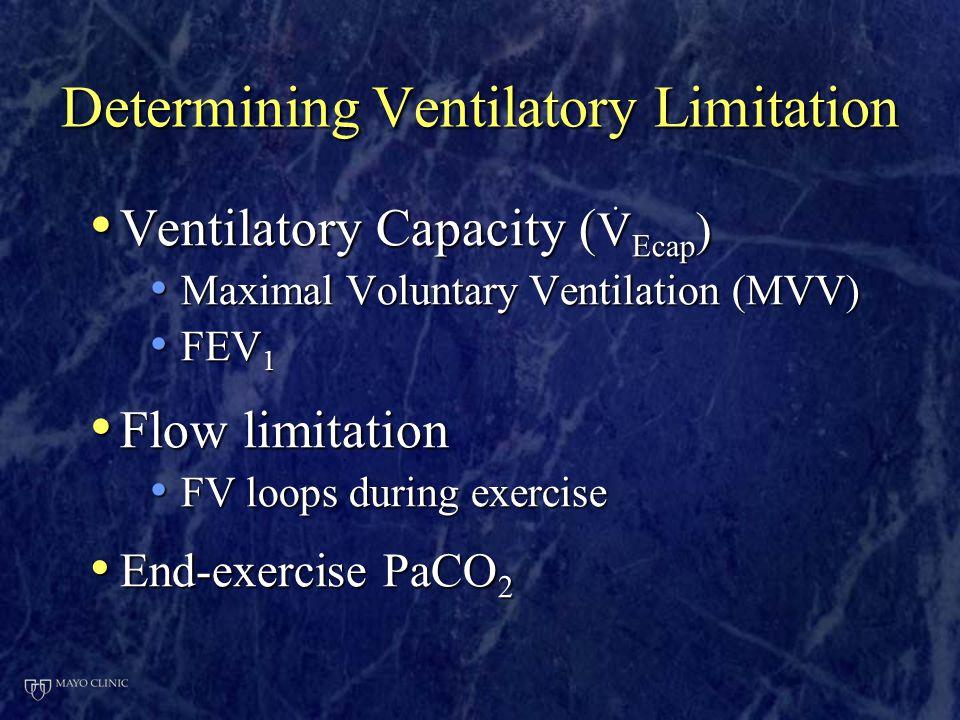Determining Ventilatory Limitation Ventilatory Capacity (  Ecap ) Ventilatory Capacity (  Ecap ) Maximal Voluntary Ventilation (MVV) Maximal Volunta