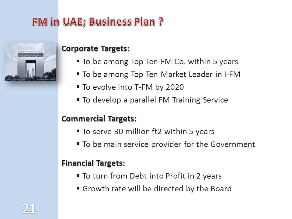 Corporate Targets:  To be among Top Ten FM Co.