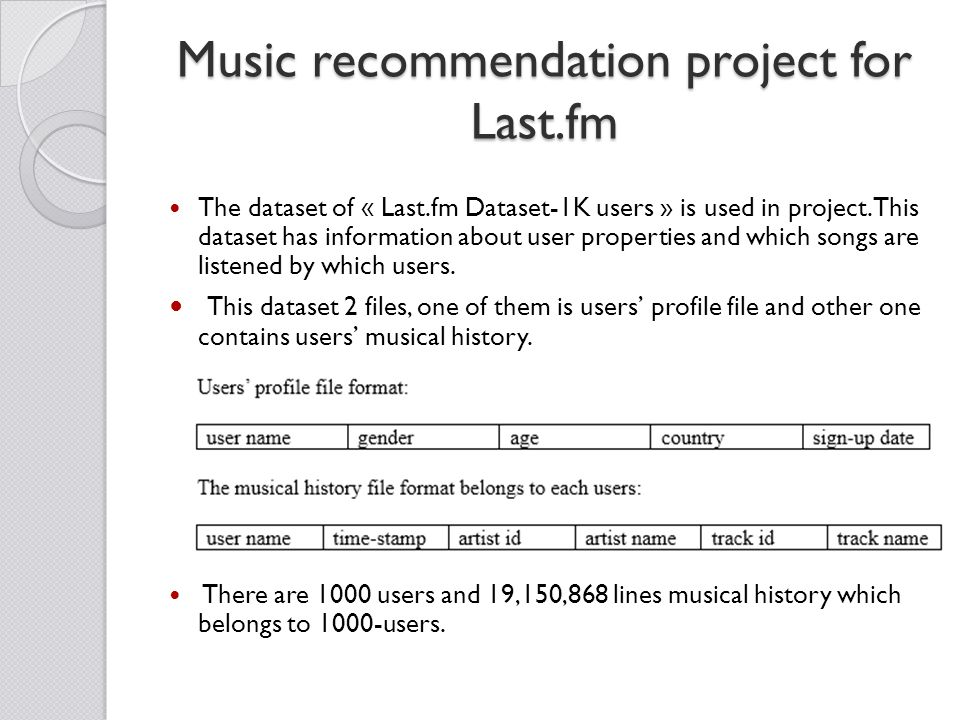 Music recommendation project for Last.fm The dataset of « Last.fm Dataset-1K users » is used in project.