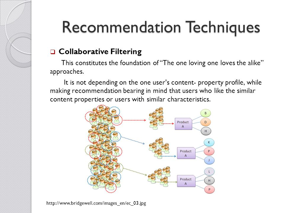 Recommendation Techniques  Collaborative Filtering This constitutes the foundation of The one loving one loves the alike approaches.