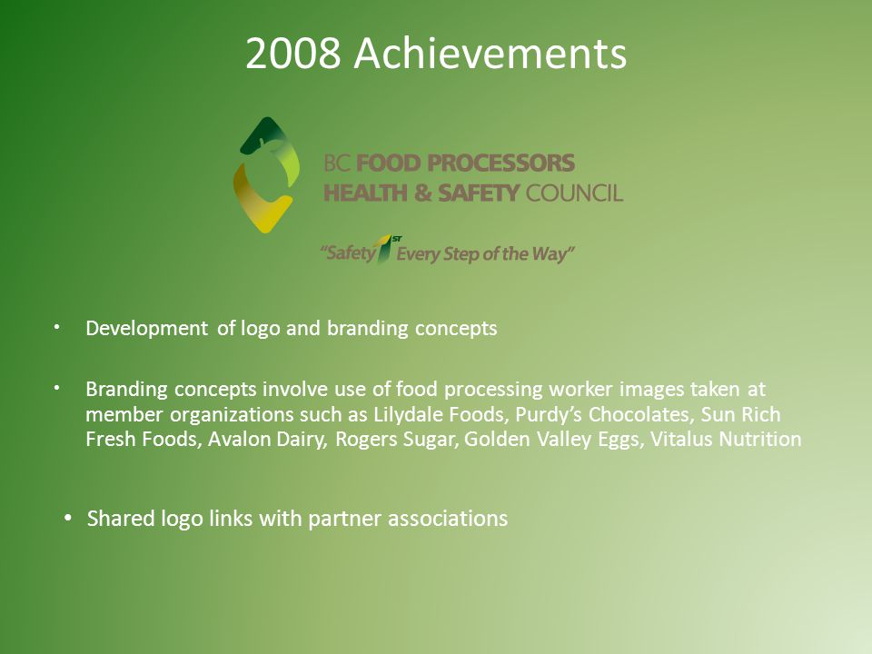 2008 Achievements  Development of logo and branding concepts  Branding concepts involve use of food processing worker images taken at member organizations such as Lilydale Foods, Purdy's Chocolates, Sun Rich Fresh Foods, Avalon Dairy, Rogers Sugar, Golden Valley Eggs, Vitalus Nutrition Shared logo links with partner associations