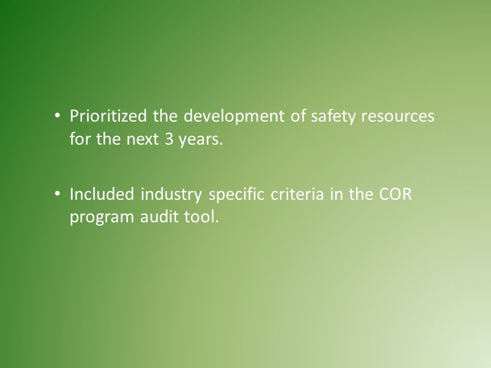Prioritized the development of safety resources for the next 3 years.