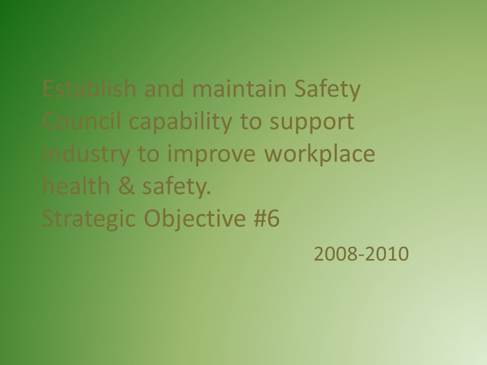 Establish and maintain Safety Council capability to support industry to improve workplace health & safety.