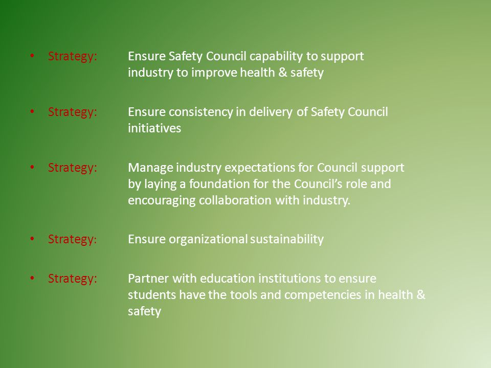 Strategy: Ensure Safety Council capability to support industry to improve health & safety Strategy: Ensure consistency in delivery of Safety Council initiatives Strategy: Manage industry expectations for Council support by laying a foundation for the Council's role and encouraging collaboration with industry.
