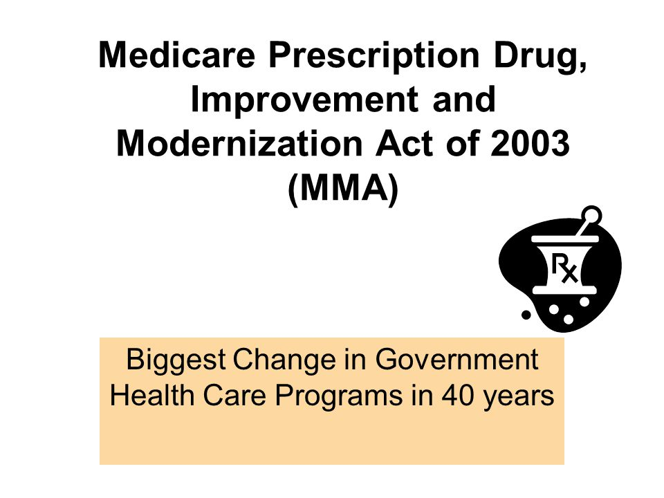 Medicare Prescription Drug, Improvement and Modernization Act of 2003 (MMA) Biggest Change in Government Health Care Programs in 40 years