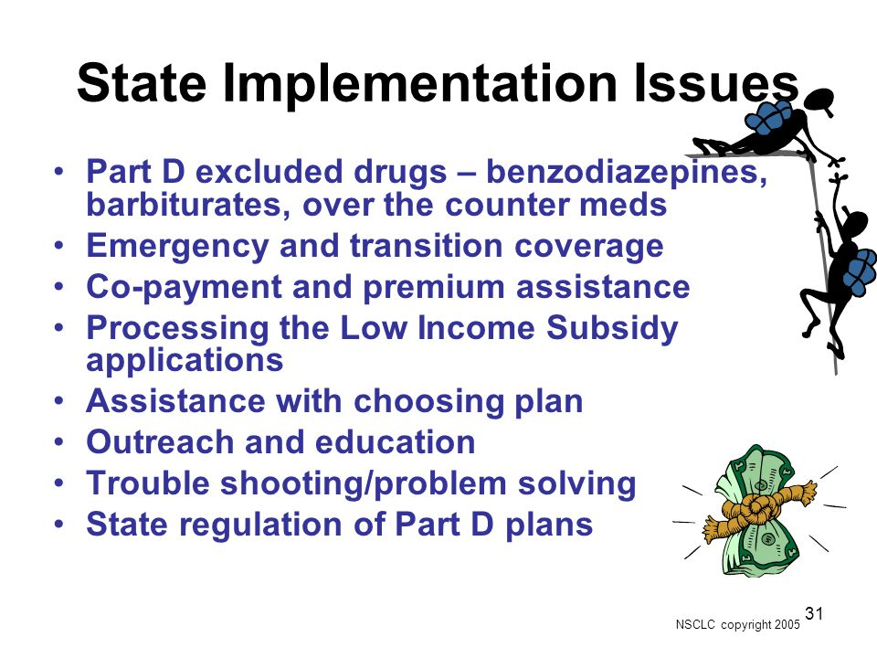 NSCLC copyright 2005 31 State Implementation Issues Part D excluded drugs – benzodiazepines, barbiturates, over the counter meds Emergency and transition coverage Co-payment and premium assistance Processing the Low Income Subsidy applications Assistance with choosing plan Outreach and education Trouble shooting/problem solving State regulation of Part D plans