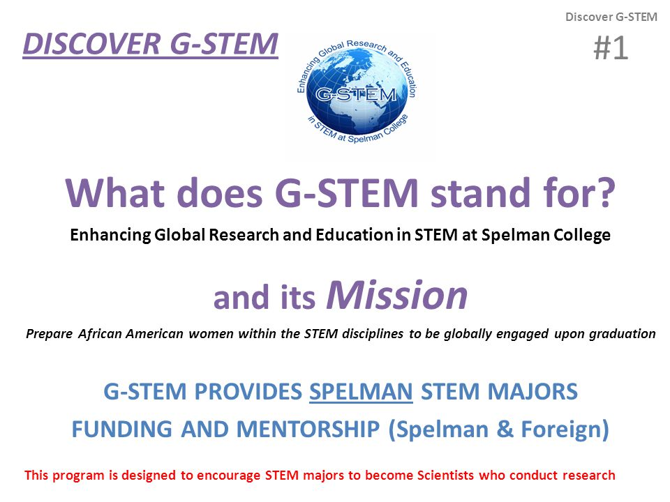 Review Your G-STEM Bookmark Discover G-STEM #2 Now please take out your bookmark