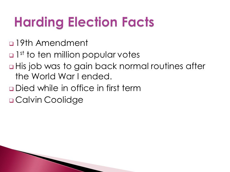  19th Amendment  1 st to ten million popular votes  His job was to gain back normal routines after the World War I ended.