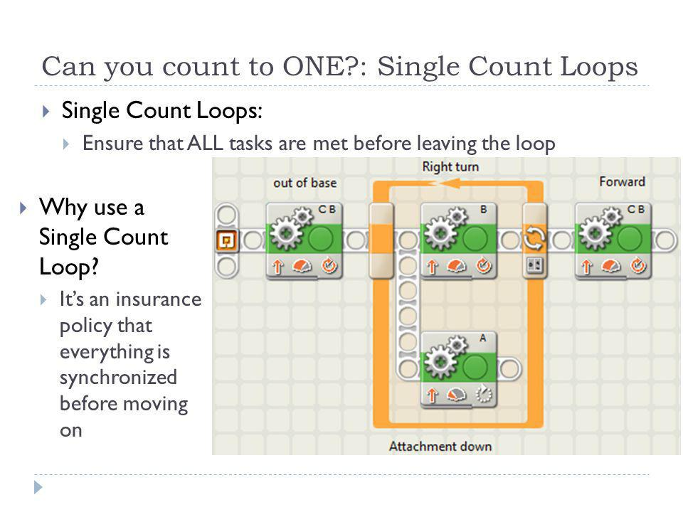 Can you count to ONE?: Single Count Loops  Single Count Loops:  Ensure that ALL tasks are met before leaving the loop  Why use a Single Count Loop.
