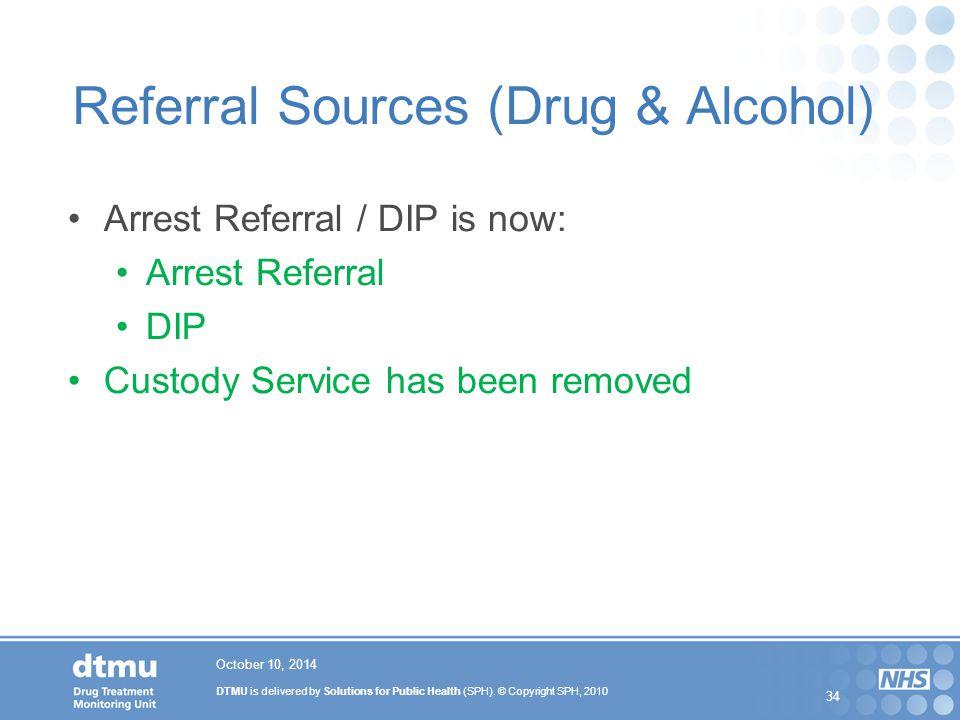 DTMU is delivered by Solutions for Public Health (SPH). © Copyright SPH, 2010 34 Referral Sources (Drug & Alcohol) Arrest Referral / DIP is now: Arres