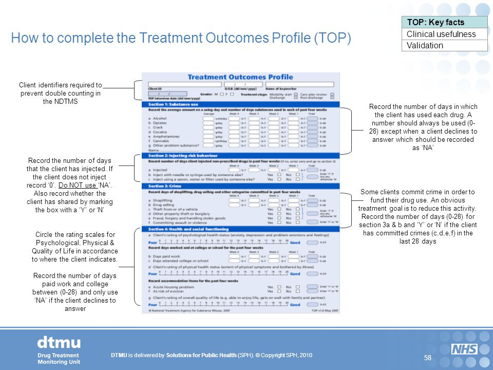 DTMU is delivered by Solutions for Public Health (SPH). © Copyright SPH, 2010 58 TOP: Key facts Clinical usefulness Validation How to complete the Tre