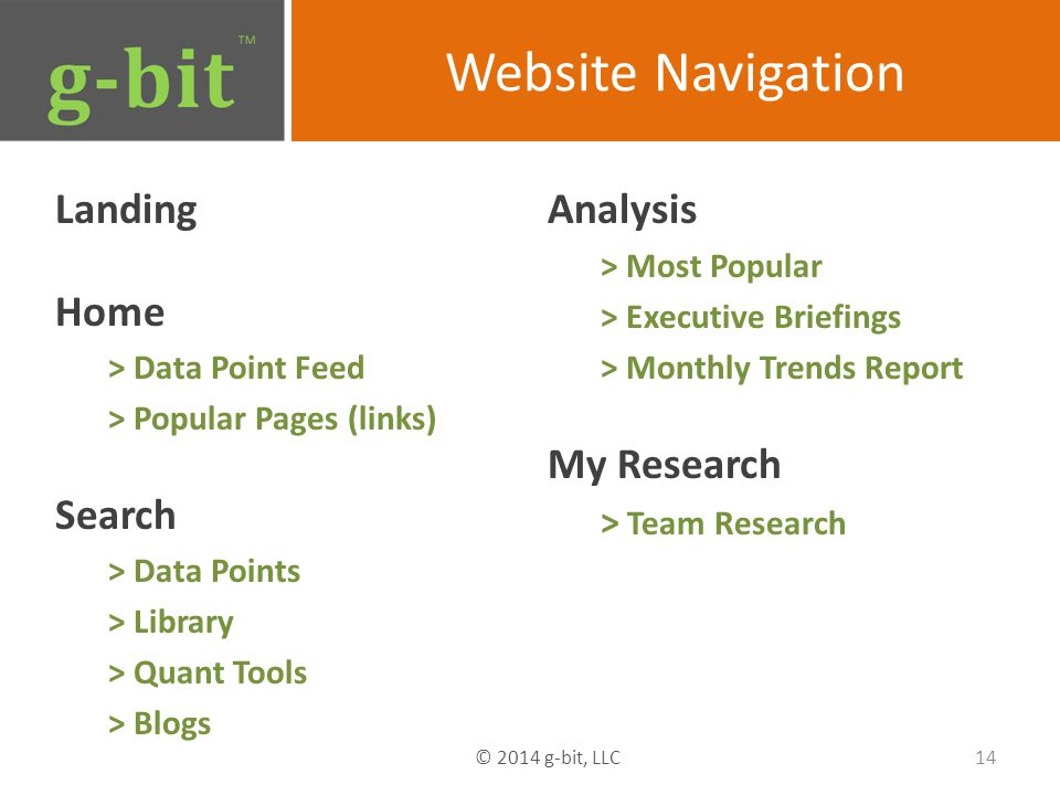 Website Navigation Landing Home > Data Point Feed > Popular Pages (links) Search > Data Points > Library > Quant Tools > Blogs Analysis > Most Popular > Executive Briefings > Monthly Trends Report My Research > Team Research 14 © 2014 g-bit, LLC