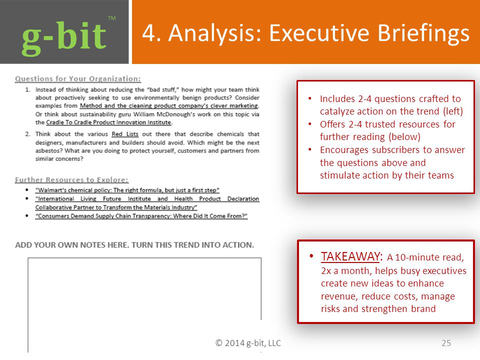 4. Analysis: Executive Briefings 25 © 2014 g-bit, LLC TAKEAWAY: A 10-minute read, 2x a month, helps busy executives create new ideas to enhance revenu