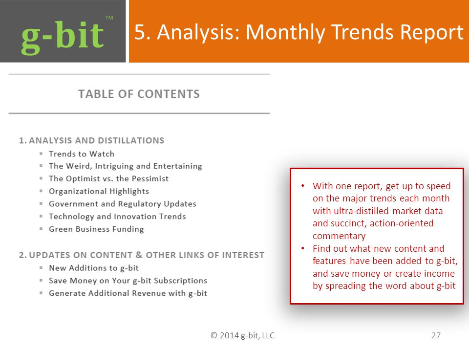 5. Analysis: Monthly Trends Report 27 © 2014 g-bit, LLC With one report, get up to speed on the major trends each month with ultra-distilled market da