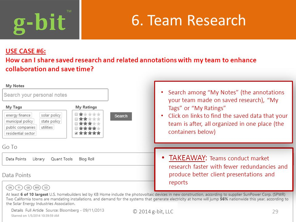 6. Team Research USE CASE #6: How can I share saved research and related annotations with my team to enhance collaboration and save time? TAKEAWAY: Te