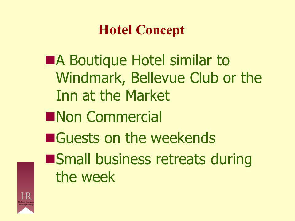 Hotel Concept A Boutique Hotel similar to Windmark, Bellevue Club or the Inn at the Market Non Commercial Guests on the weekends Small business retreats during the week