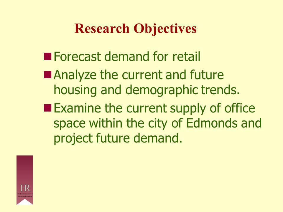 Research Objectives Forecast demand for retail Analyze the current and future housing and demographic trends.