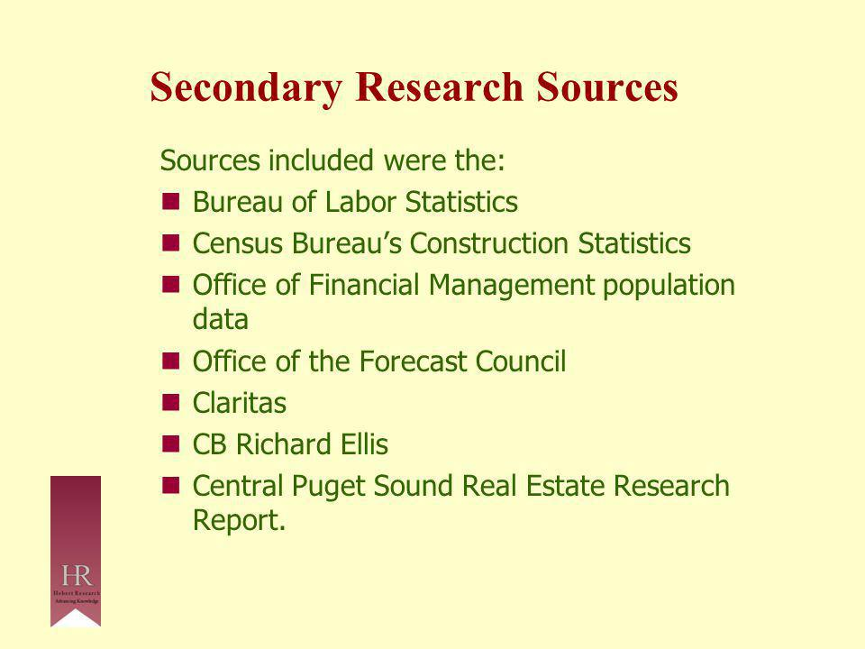 Secondary Research Sources Sources included were the: Bureau of Labor Statistics Census Bureau's Construction Statistics Office of Financial Management population data Office of the Forecast Council Claritas CB Richard Ellis Central Puget Sound Real Estate Research Report.