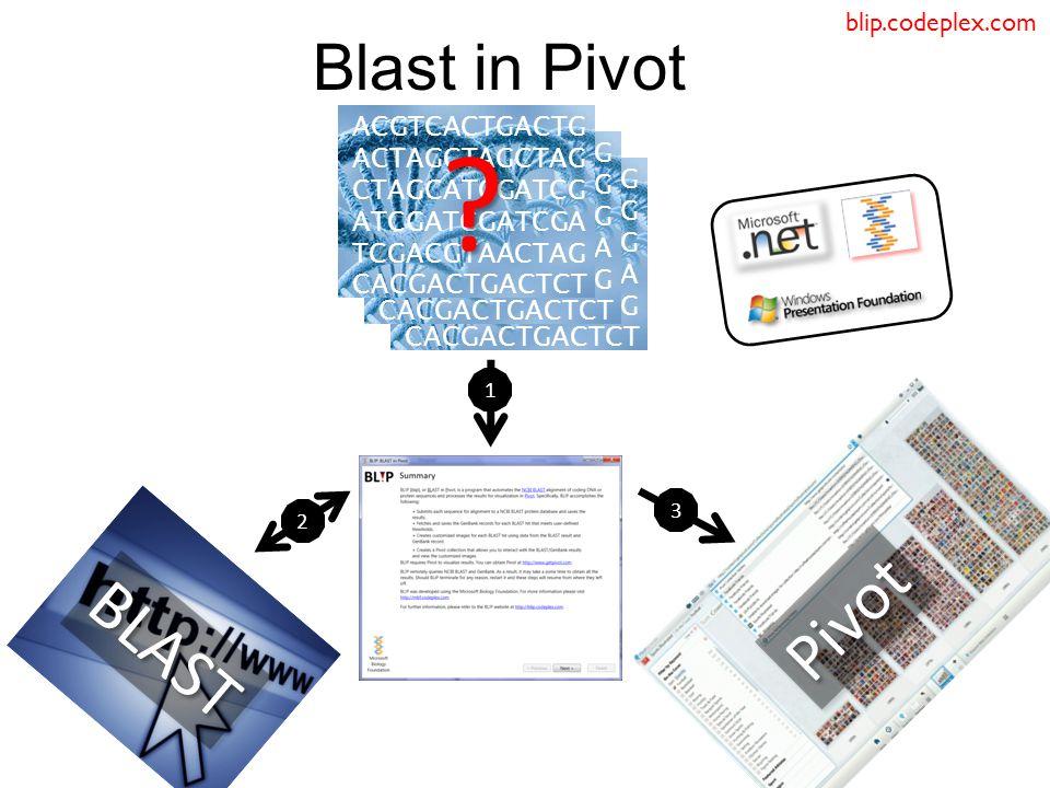 Blast in Pivot 2 3 ACGTCACTGACTG ACTAGCTAGCTAG CTAGCATCGATCG ATCGATCGATCGA TCGACGTAACTAG CACGACTGACTCT .